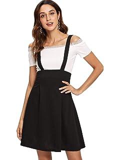 9cb718a2f3 SheIn Women's Basic High Waist A-line Flared Suspender Skirt Pinafore  Overall Dress