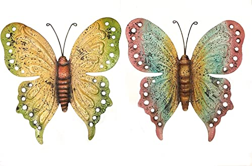 Bellaa 23639 Metal Wall Art Butterfly Decor Sculpture Hanging Fluttering Colorful Yard Patio Indoor Outdoor 2 Pack 21 inch