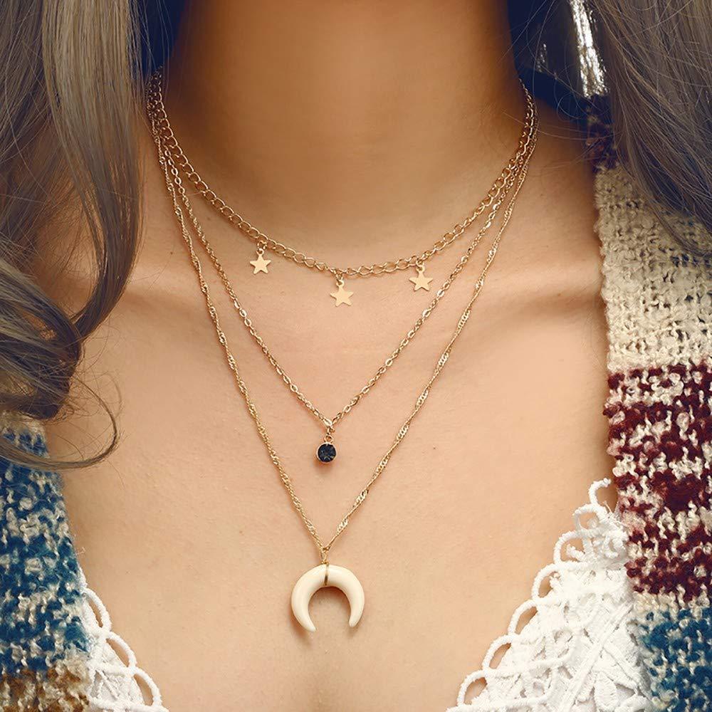 dcdb353057bfe Amazon.com: ChokerMoon Pentagonal Star Geometric Diamond Necklace ...