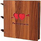 Álbum de fotos de madera DIY libro de recuerdos, 10 pulgadas (una flecha a través de dos corazones) por Yeelan