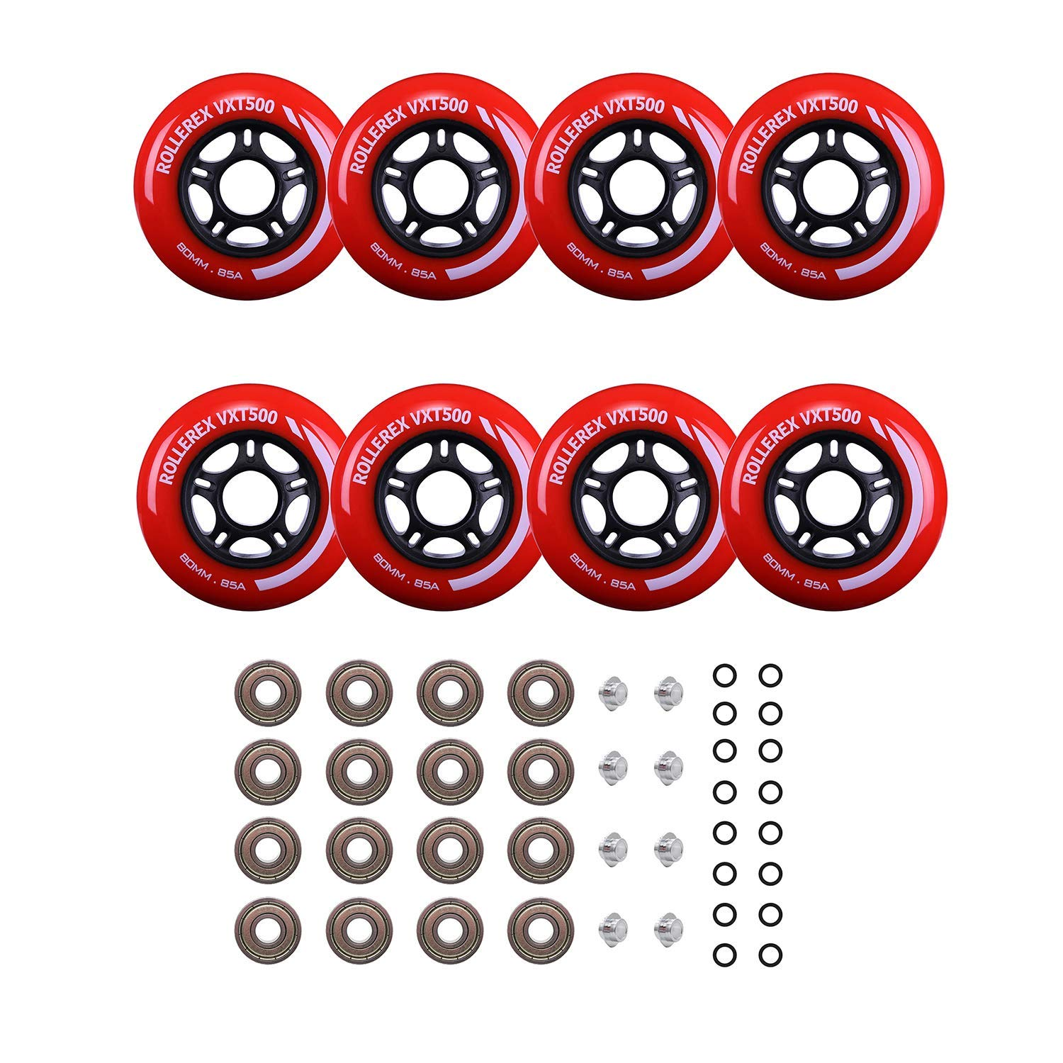 Rollerex Inline Skate Wheels VXT500 80mm (8-Pack or 2-Pack or 2 Wheels w/Bearings, Spacers and Washers) (72mm Rocket Red (8 Wheels w/Bearings, spacers and washers)) by Rollerex