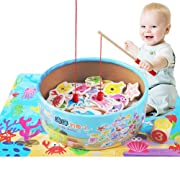 QZM Fishing Game Toddler Toys for Girls Boys,Catch & Count Wooden Fishing Game with 2 Magnetic Rods,Wooden Kids Puzzles Board Magnetic Games Set with 14 Ocean Animals