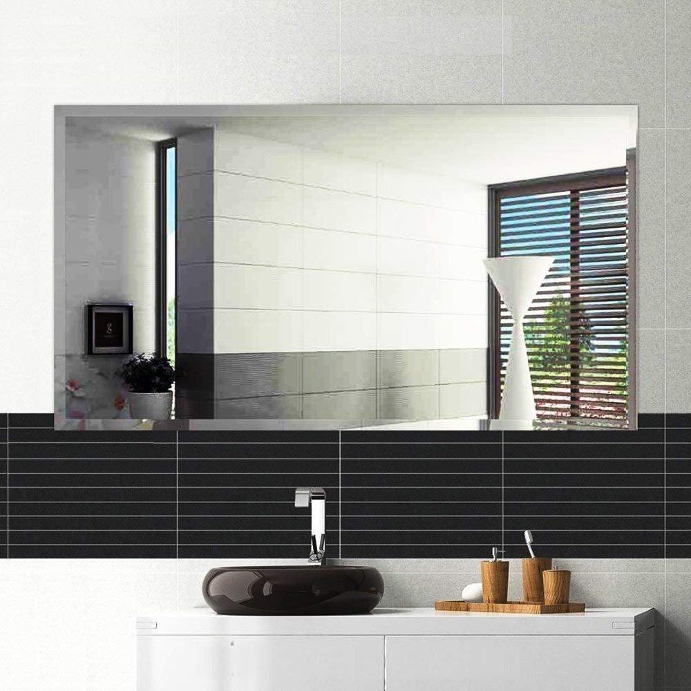 Hans & Alice Large Rectangular Bathroom Mirror, Wall-Mounted Wooden Frame Vanity Mirror (38''x26'' Unframed)