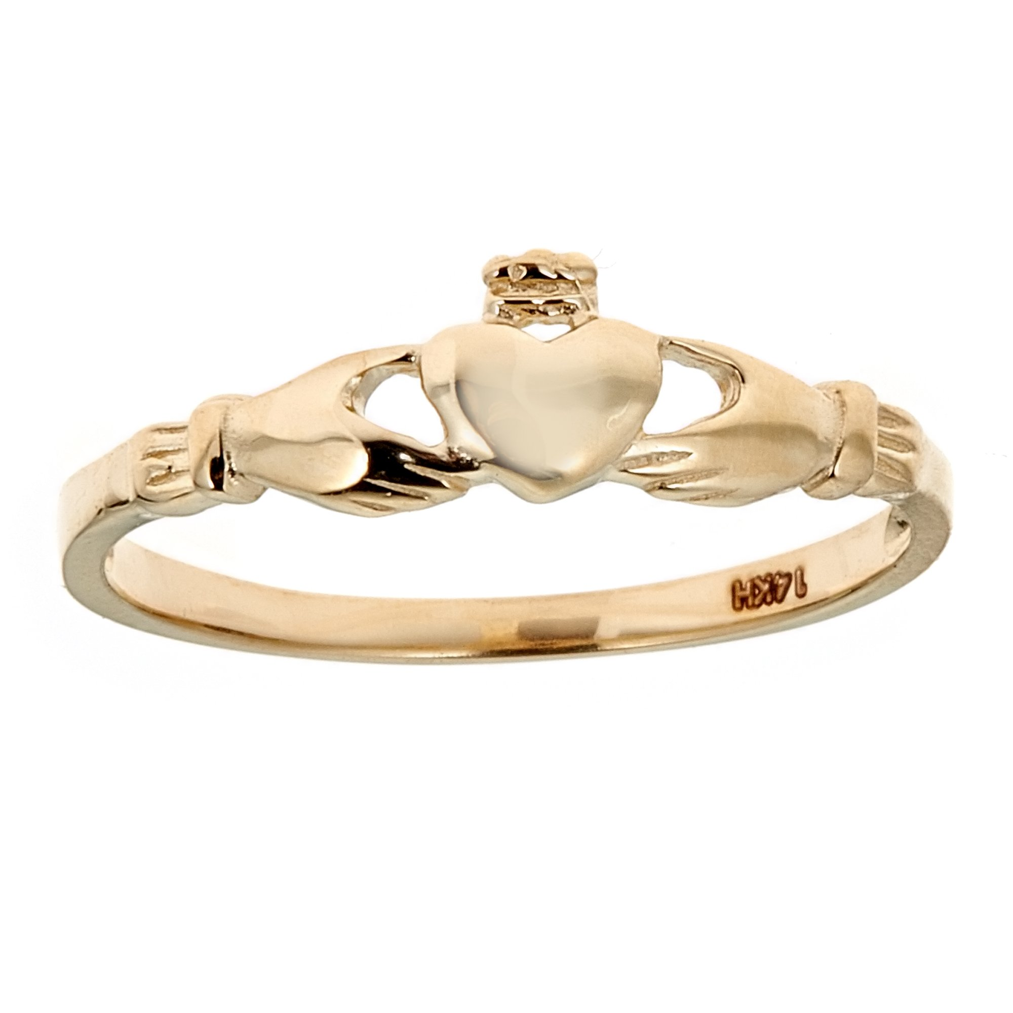 Children's 14k Solid Yellow Gold Baby Kids Ring Claddagh