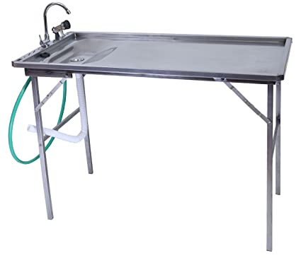 Organized Fishing Stainless Steel Fillet Table With Drain Assembly, Folding  Faucet, 6u0027 Hose