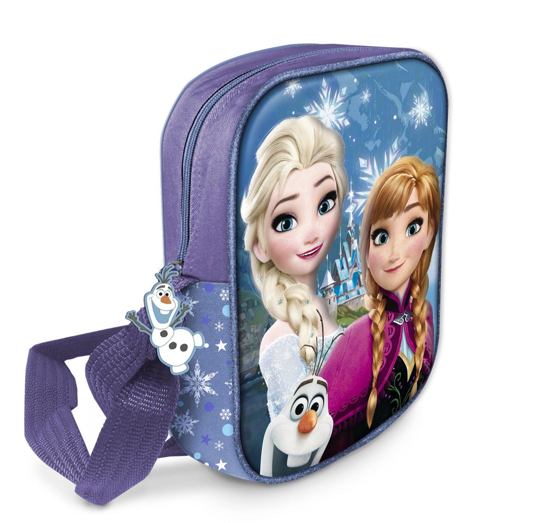Star Licensing Disney Frozen Tracolla 3D Borsa Messenger con Tirazip in Gomma a Tema, 20 cm, Multicolore 42963