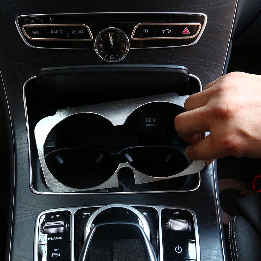 Aluminum alloy Cup Holder Cover Frame Trim For C Class W205 GLC X253 E-Class W213 Car Accessories BEINSTOCK
