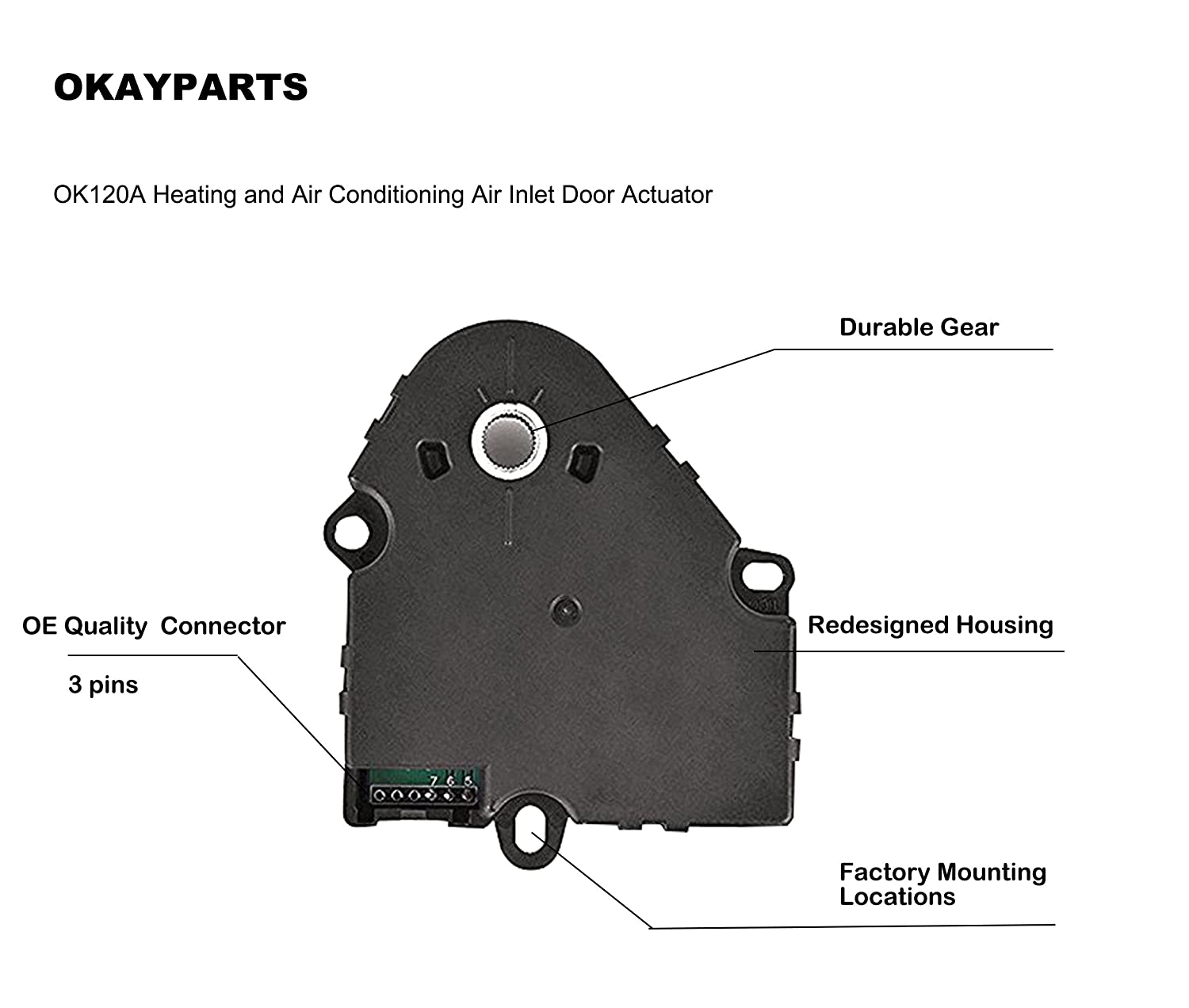 Okayparts Ok120a Hvac Heater Blend Door Actuator For Cool Pack Air Conditioning Wiring Diagram 1960 Chevrolet Passenger Car Buick Cadillac Isuzu Oldsmobile Chevy Gmc Replace 15 73599 89018373 89018678 604 120