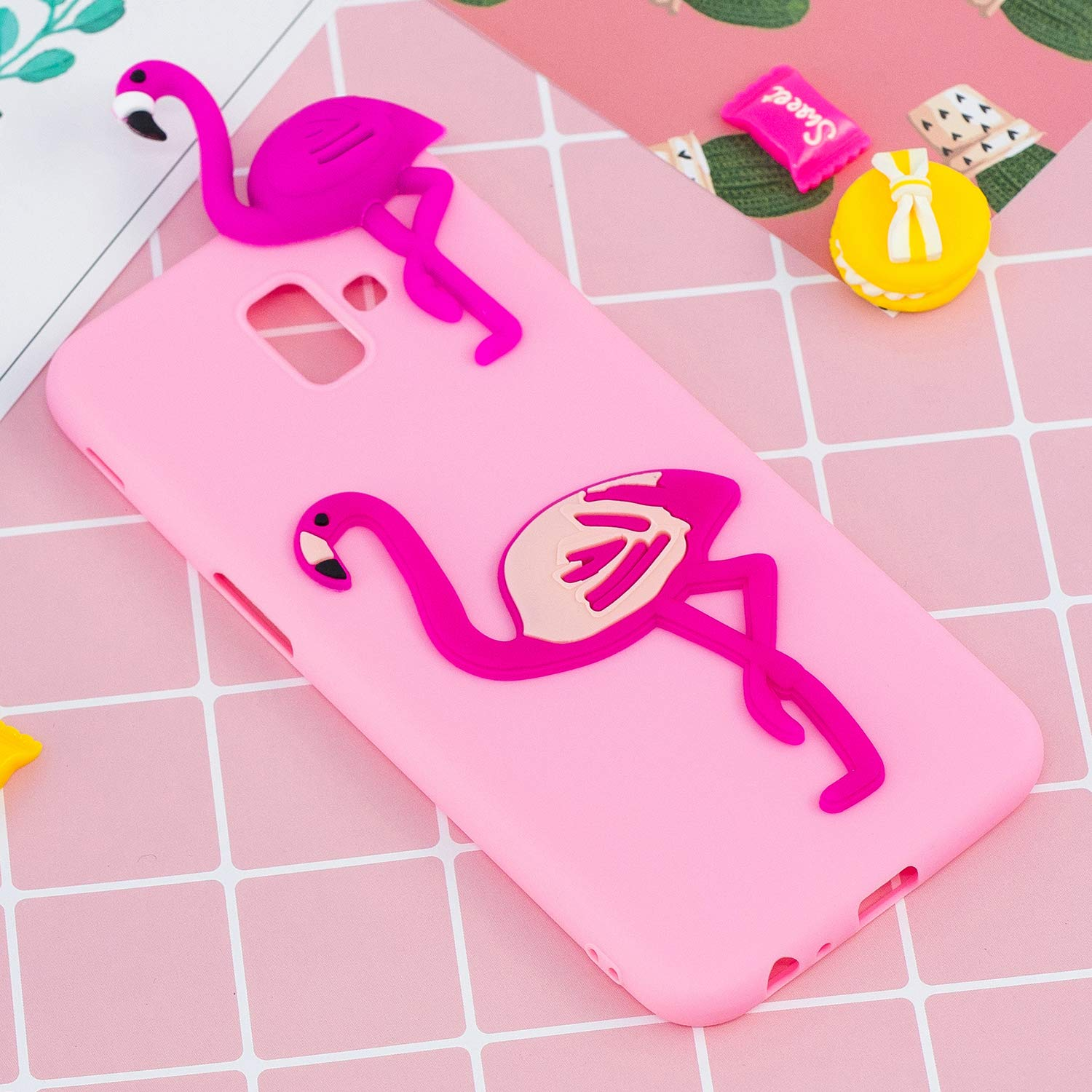ZCXG Compatible with Samsung Galaxy J6 Plus Case Pink Flamingo Silicone Gel Shockproof Phone Protective Cover Slim Fit Ultra Thin TPU Lovely Case Animal Cute for Samsung J6 Plus