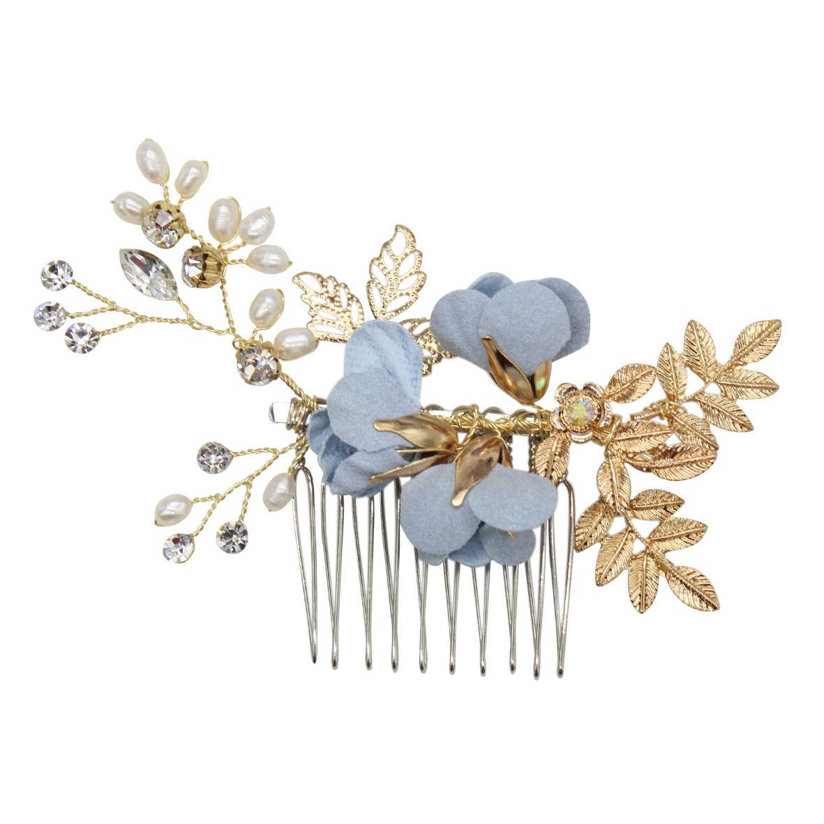 Silver crystal pearls Hair Comb Something blue for Bride Edwardian Hair comb vintage headpiece Downton Abbey wedding Pearl bridal clip