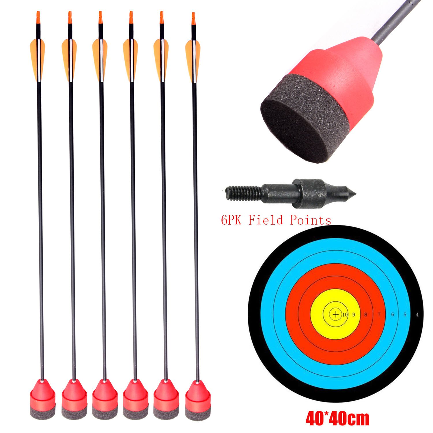 PG1ARCHERY Carbon Larp Arrows Foam Tips Broadhead Feather Fletched with Replaceable Screw-in Field Points and Arrow Target for Archery Practice CS Game Red