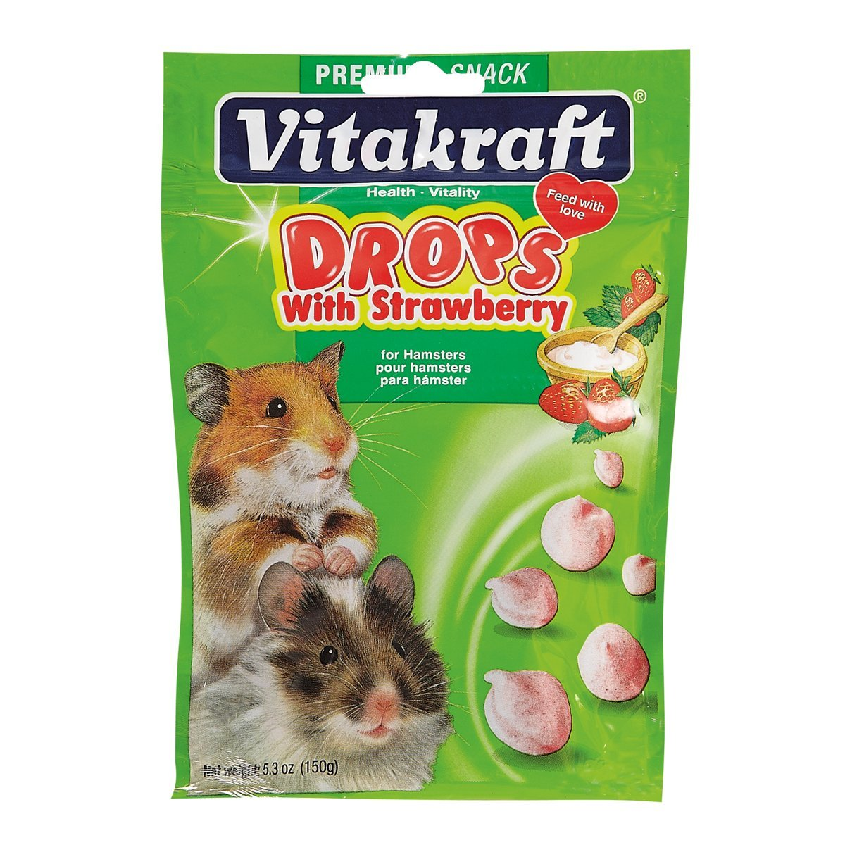 Vitakraft Hamster Strawberry Drops Treat, 5.3 Ounce Pouch