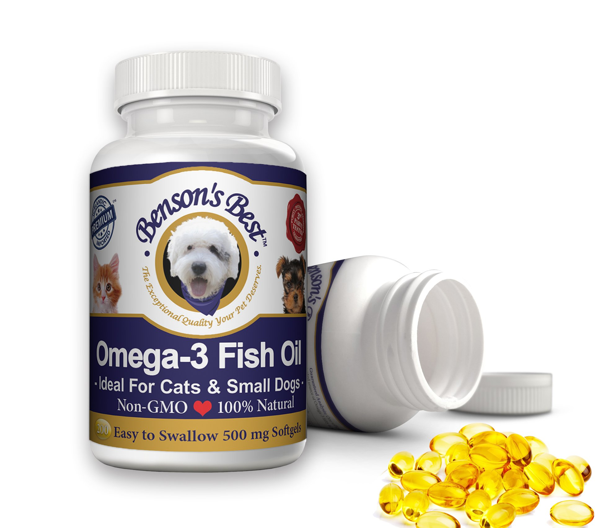 Benson's Best Omega-3 Fish Oil for Cats & Small Dogs. Provides 43% More Omega-3 than Salmon Oil! 100% Pure, Natural & Non-GMO, 200 Easy To Swallow 500 mg Softgel Capsules: Ideal for Cats & Small Dogs! by Benson's Best