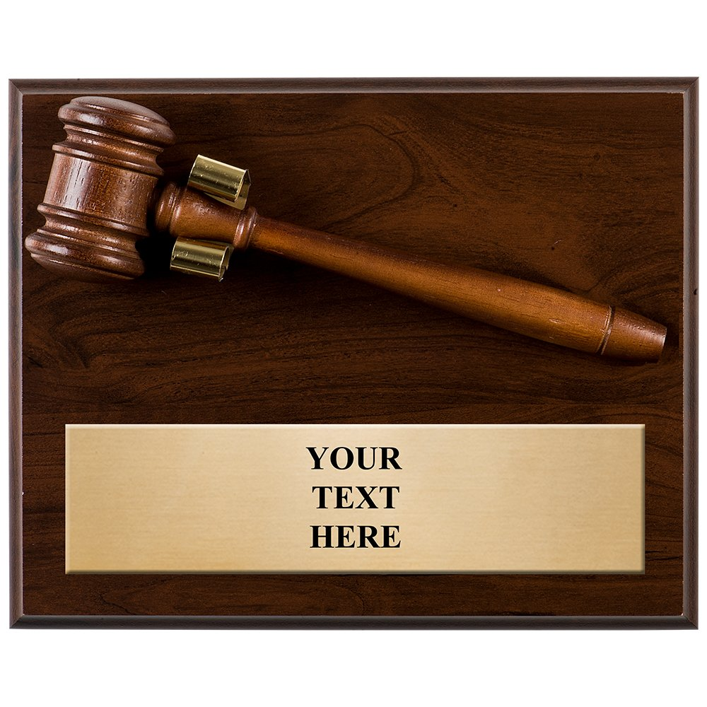 Crown Awards GAVEL PLAQUES - 8 x 10 Wood Gavel Plaque Award With Customized Text