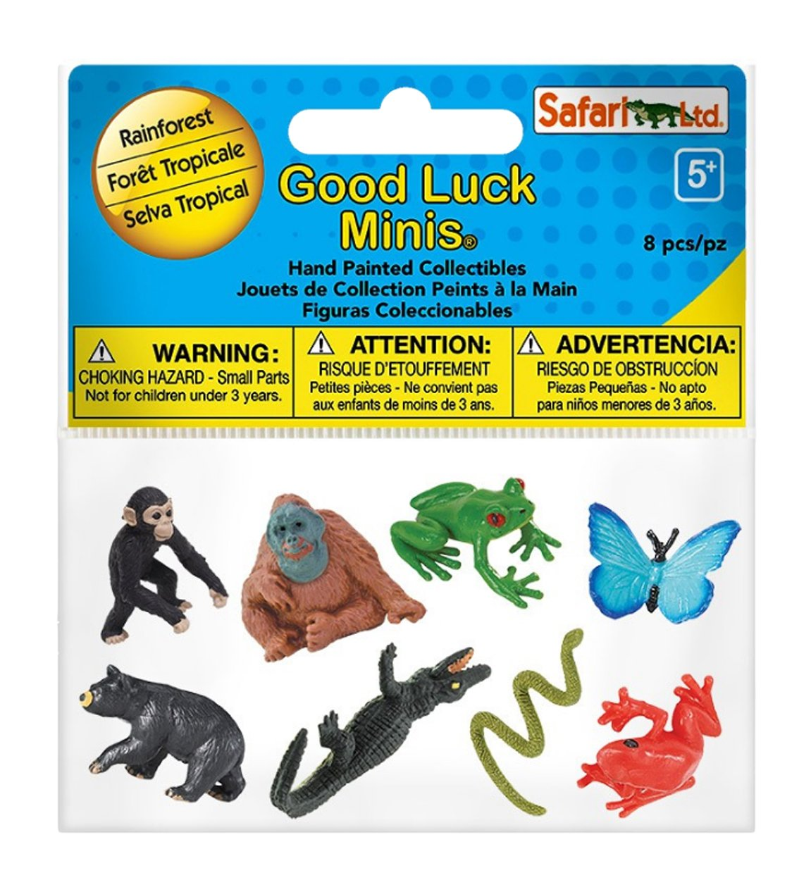 8 Pieces Quality Construction from Phthalate Rainforest Fun Pack Good Luck Minis for Ages 5 and Up Lead and BPA Free Materials Safari Ltd