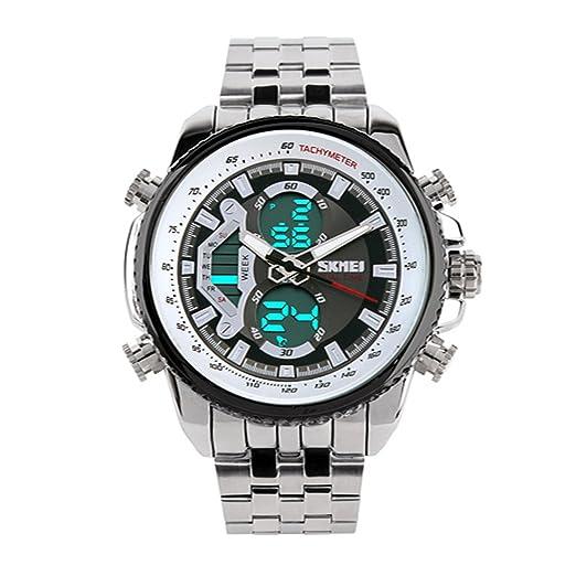 Skmei 0993 pantalla LED Digital resistente al agua hombres de acero completa Militar reloj negro: Amazon.es: Relojes