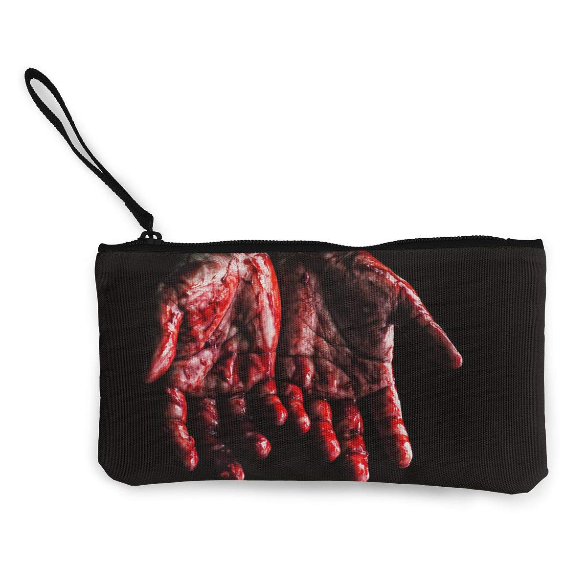 Canvas Cash Coin Purse,Hand Full Of Blood Print Make Up Bag Zipper Small Purse Wallets