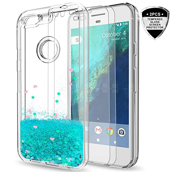 best sneakers ab93a 5bafa Google Pixel XL Case with Tempered Glass Screen Protector [2 Pack] for  Girls Women,LeYi Sparkle Shiny Bling Liquid Clear TPU Bumper Protective  Phone ...