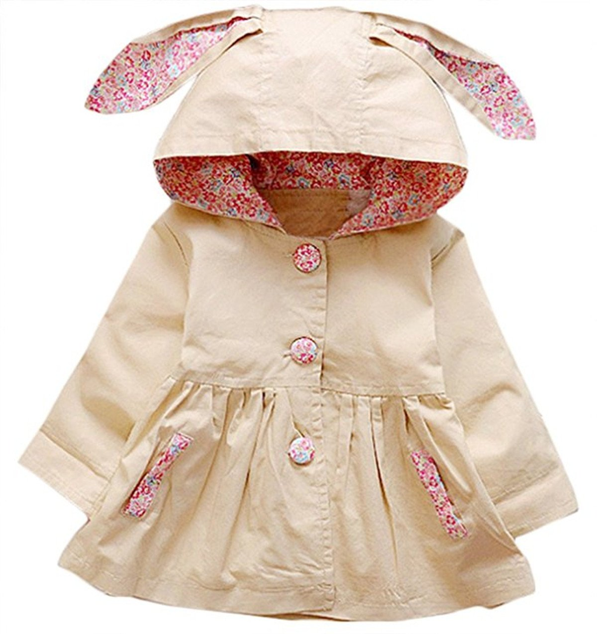 FAIRYRAIN Baby Kid Little Girls Wind Proof Spring Autumn Cute Rabbit Hoodie Jacket Coat Outerwear