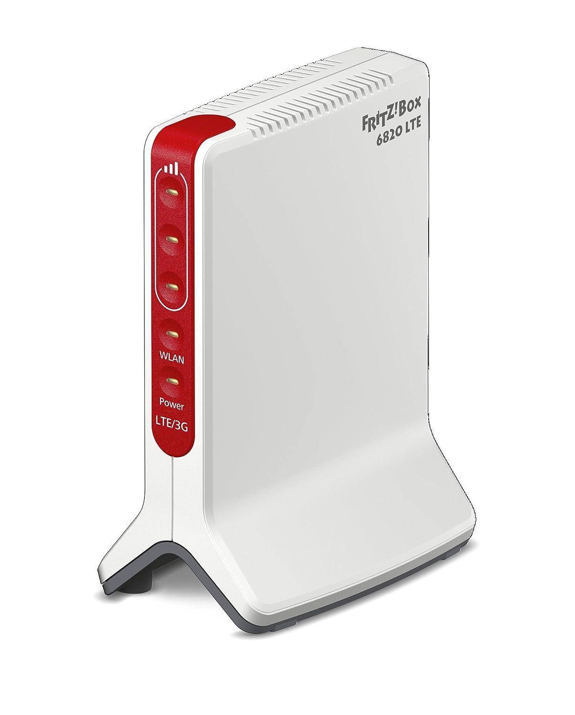 AVM FRITZ!Box 6820 LTE, Modem 4G/3G, Slot per SIM, Wireless N 450 Mbits, 1 LAN Gigabit, Alimentato, Istruzioni e Software in Italiano