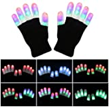 LSXD LED Gloves, Colorful Flashing Finger Light Gloves, 3colors 6modes Warm Gloves for Halloween, Christmas Birthday Party