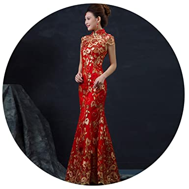 3b076dc92 Amazon.com: Chinese Wedding Dress Long Cheongsam Gold Slim Chinese  Traditional Dress Qipao: Clothing