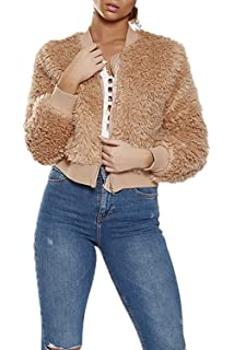 2c3ce384bee04 Femmes BF Baseball Veste Zipper Up Manches Longues Chaud Outercoat Top