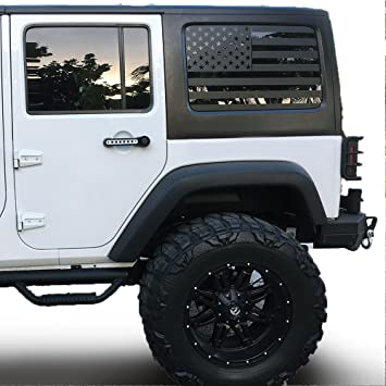 Xplore outdoors jeep wrangler usa flag window decal matte black american vinyl for rear