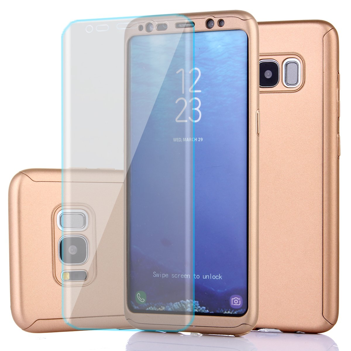 Samsung Galaxy s8ケース、フルボディ保護超薄型ハードPCケースwith aソフトHDスクリーンプロテクター360すべてラウンドAnti Scratchリムーバブルハイブリッドカバーfor Galaxy s8 6-12 months B073JW87YL 1gold