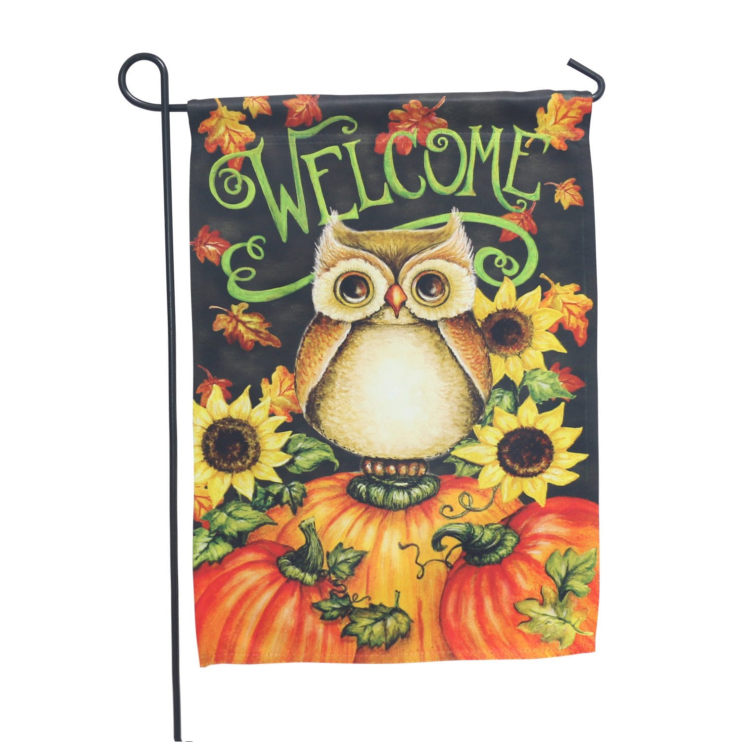LAYOER Home Garden Flag 13 x 18 Inch House Double Sided Welcome 12 x 18 Inch (Owl Pumpkin Sunflowers Welcome)