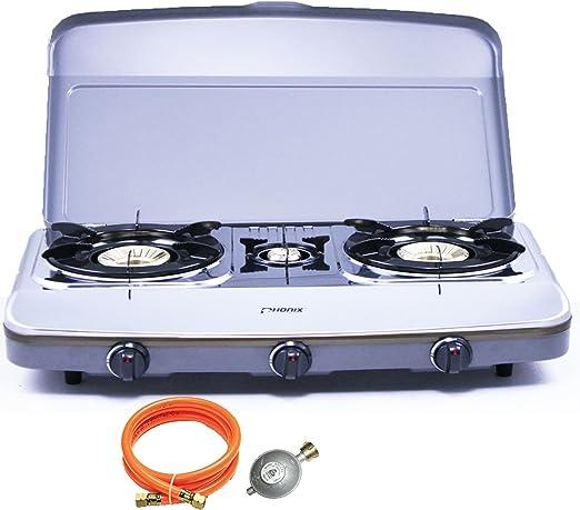 Phönix PH de 3Dx Juego de cocina 3 focos con tapa de gas propano Gas Camping hervidor con regulador de – Manguera de gas de acero inoxidable