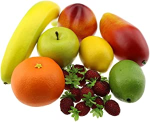 Gresorth Artificial Decoration Lifelike Fruit Fake Banana Peach Orange Mango Home Party Display Food Kitchen Toy Props