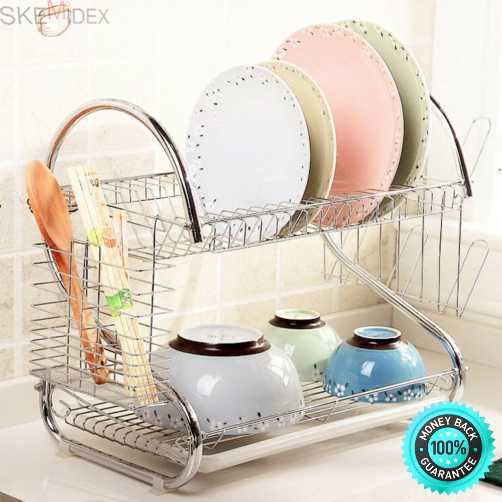 SKEMiDEX---Kitchen Storage Dish Cup 2-Tier Dryer Drying Rack Holder Organizer. Electric plate, special surface treatment, polishing gloss and sleek surface.