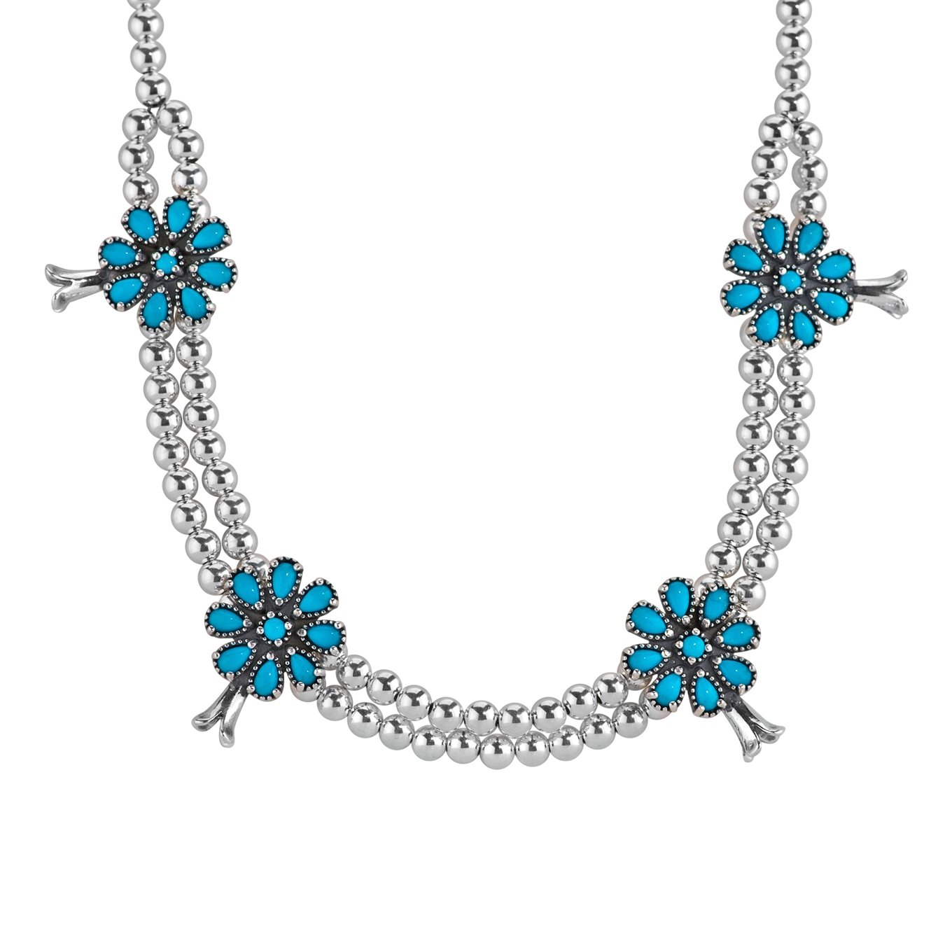 American West Sterling Silver and Sleeping Beauty Turquoise Squash Blossom Necklace -18 Inches Long - Sleeping Beauty Collection