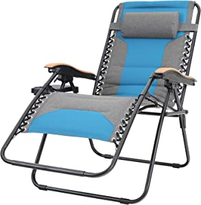 Sophia & William Padded Zero Gravity Chair Oversize Lounge Chair with Free Cup Holder, Supports 350 LBS (Cobalt Blue)