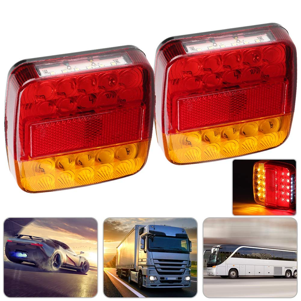 luci posteriori a doppio colore 12V 20LED per camion rimorchio Qiilu Fanale posteriore 2 pezzi coprilampada giallo rosso