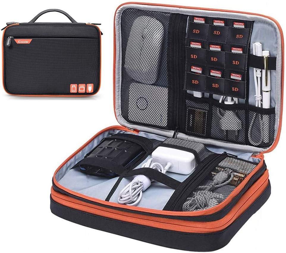 iCozzier Doble Capa Accesorios electrónicos Bolsa de Almacenamiento Organizador de Viaje de Gran Capacidad Estuche de Transporte para iPad, iPhone, Power Bank, Tarjetas SD, Cables, Cargadores
