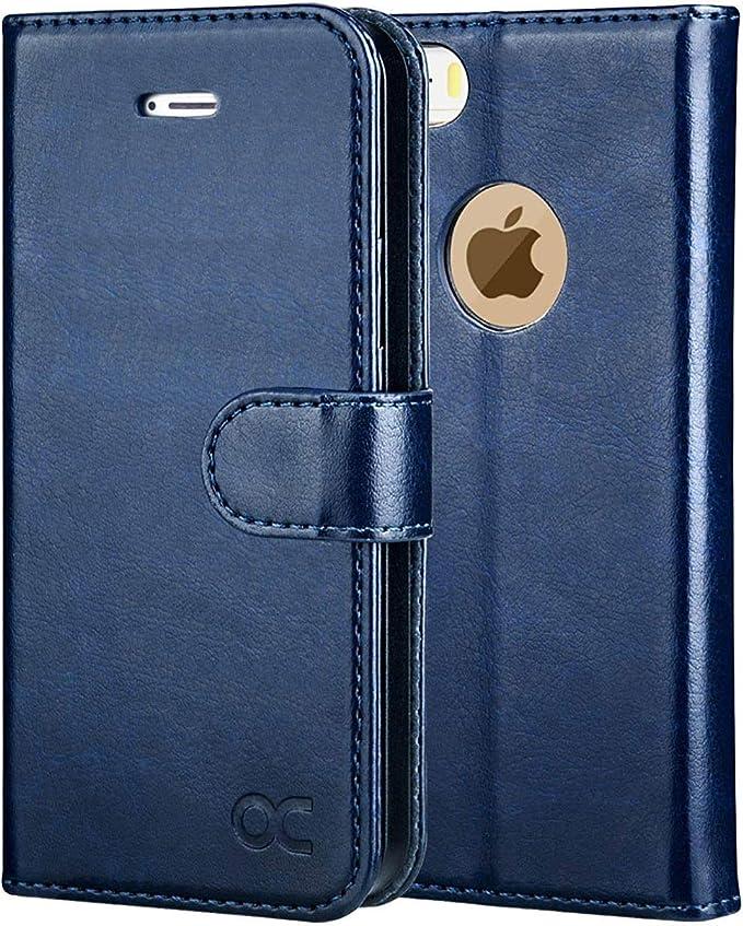 OCASE Coque iPhone 5S Porte-Cartes [Béquille] [Fentes pour Cartes] [Fermoir Magnétique] Étui à Rabat Housse en Cuir pour iPhone 5 / 5S / Se 2016 - ...
