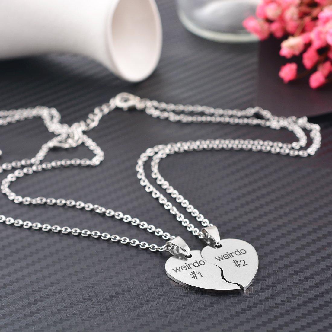 MJartoria BFF Necklaces for 2 Split Heart Weirdo 1 Weirdo 2 Best Friends Forever Pendant Friendship Set XIEHOU XHA1A1B2B2C3C5