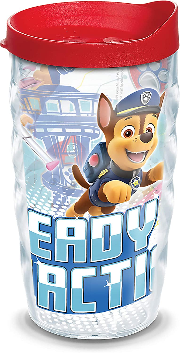 Tervis 1346912 Nickelodeon - Paw Patrol Take Action Insulated Tumbler with Wrap and Red Lid, 10oz Wavy, Clear