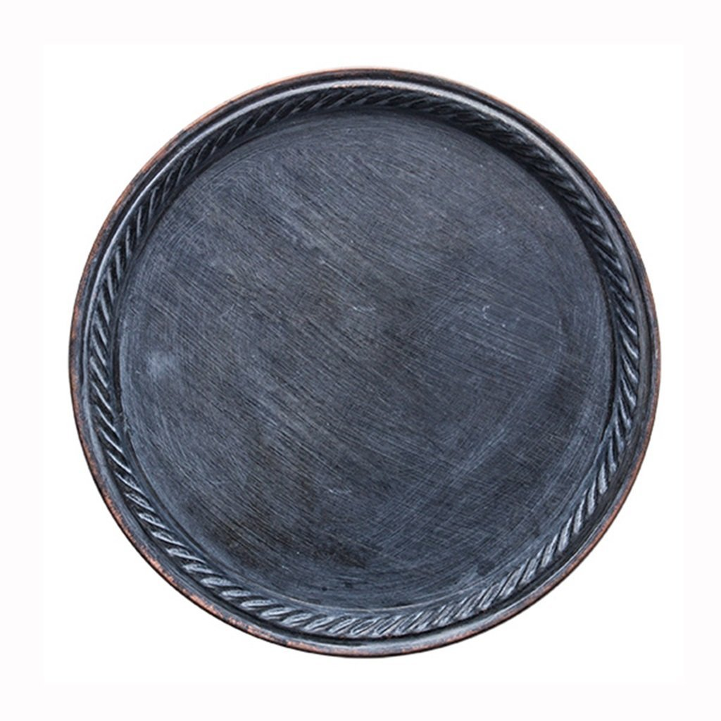 He Xiang Ya Shop Iron Flat Plate Home Breakfast Large Tray Fruit Cake Tray Water Cup Tray Black Dinner Plate 12 inches