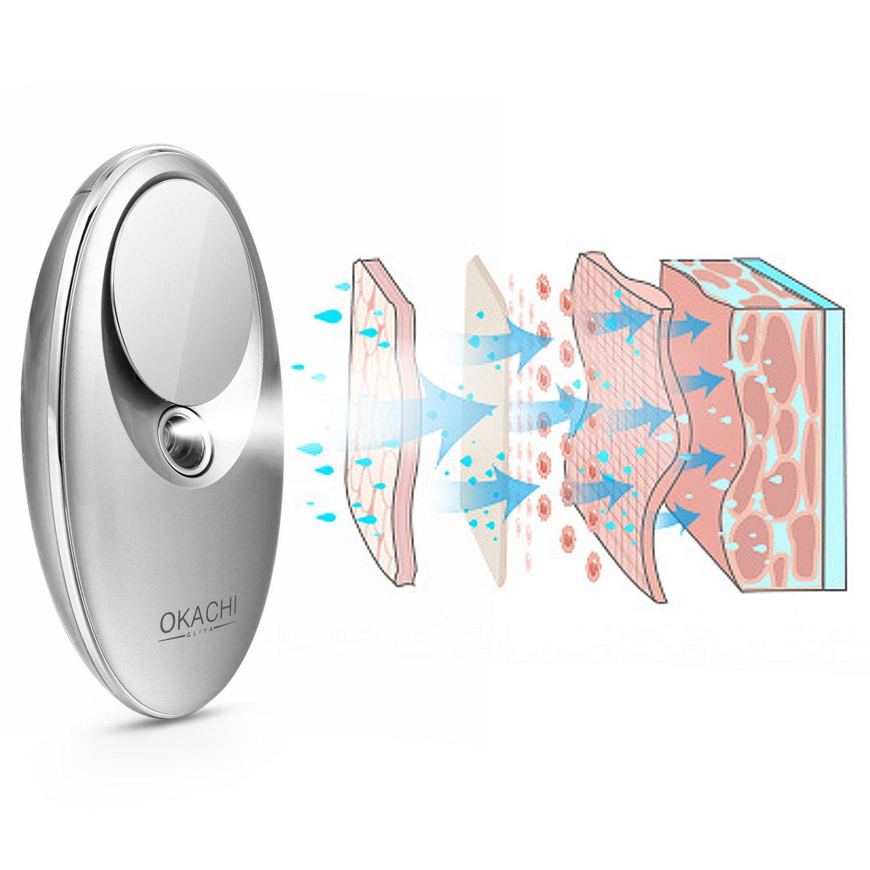OKACHI GLIYA Face Hydrating Sprayer Handheld Nano Ionic Cool Mister Portable Facial Steamer Deep Hydrogen-rich Water Moisturizing Anti-aging Refreshing USB Rechargeable SPA - Grey by okachi gliya (Image #4)