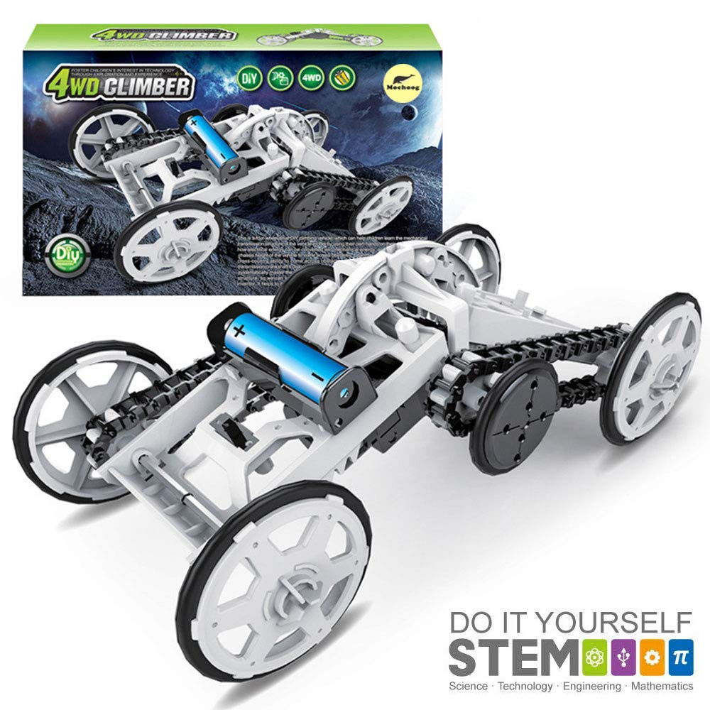 Mochoog STEM 4WD Electric Mechanical Assembly Science Toys Kit | Intro to Engineering, DIY Climbing Vehicle, Circuit Building Projects for Kids and Teens | DIY Experiments Using Real Motor by Mochoog