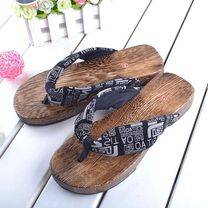 FREAHAP R Une Paire Sandale Femme Homme Floral Pantoufle Tong Bois Geta Japonaise Sabots Cosplay Pantoufles /à Fond /Épais Sandales pour Jeune