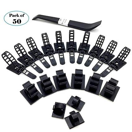 50 Piezas Ataduras de Cables Adhesivas Negro Sujetacables y Organizadores de Cables Para la Administración de
