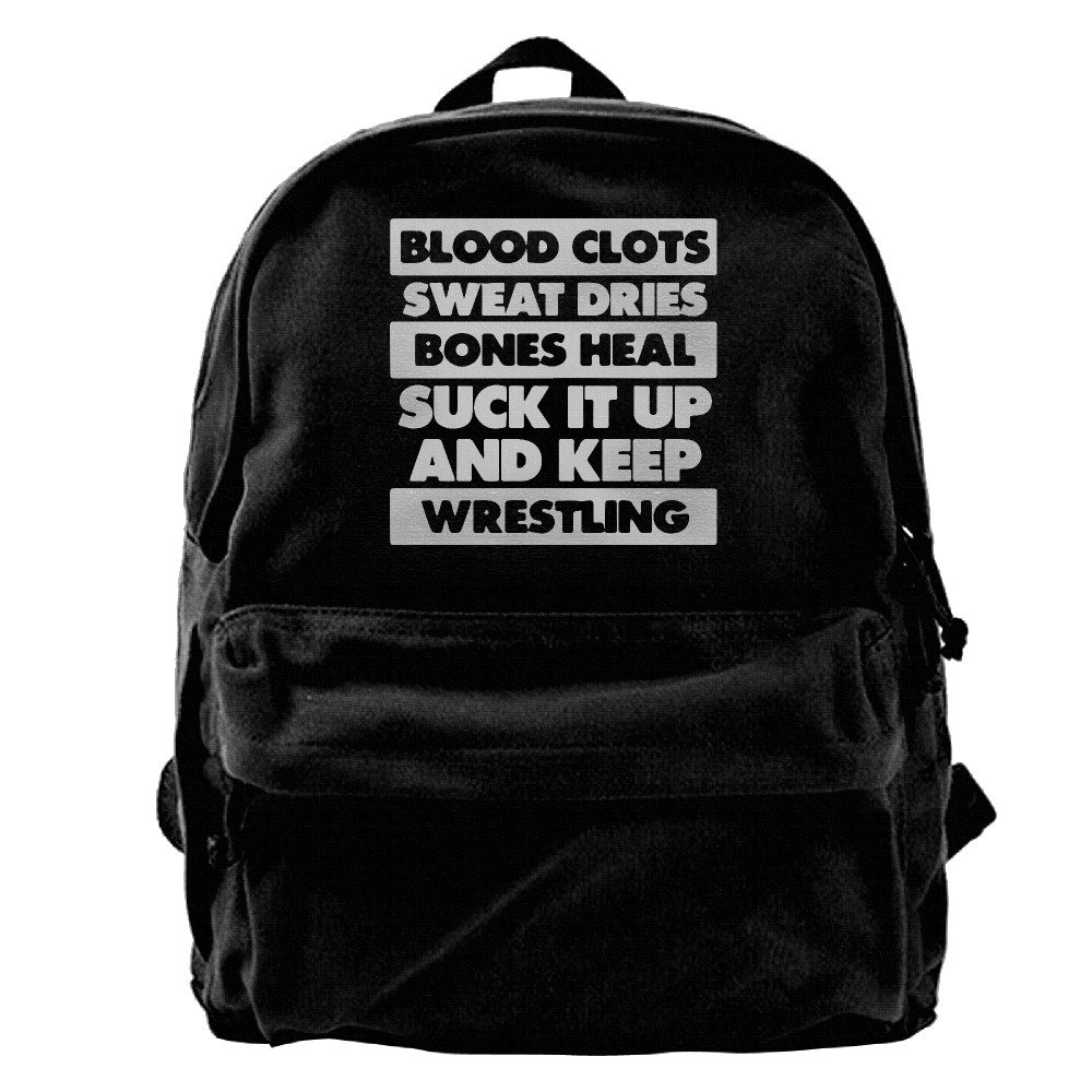 Suck It Up And Keep Wrestling Waterproof Hiking Backpack Travel Bag Canvas Backpack For School Casual Lightweight Laptop Travel Daypack by YuanMei