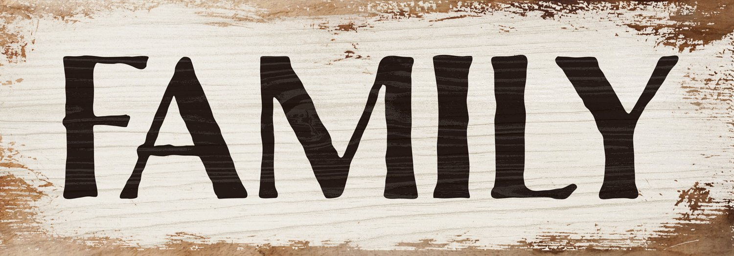 Family Bold White Wash 16 x 6 Inch Solid Pine Wood Plank Wall Plaque Sign by P Graham Dunn
