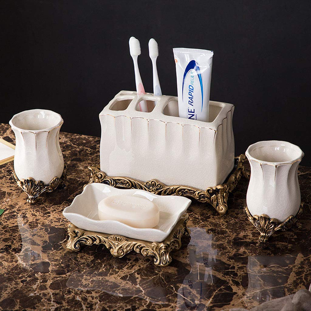 XiYunHan European Style Ceramics Toothbrush Holder Dental seat Couple Bathroom Set Four Washing Lotion Bottle Soap Dish Bathroom Set
