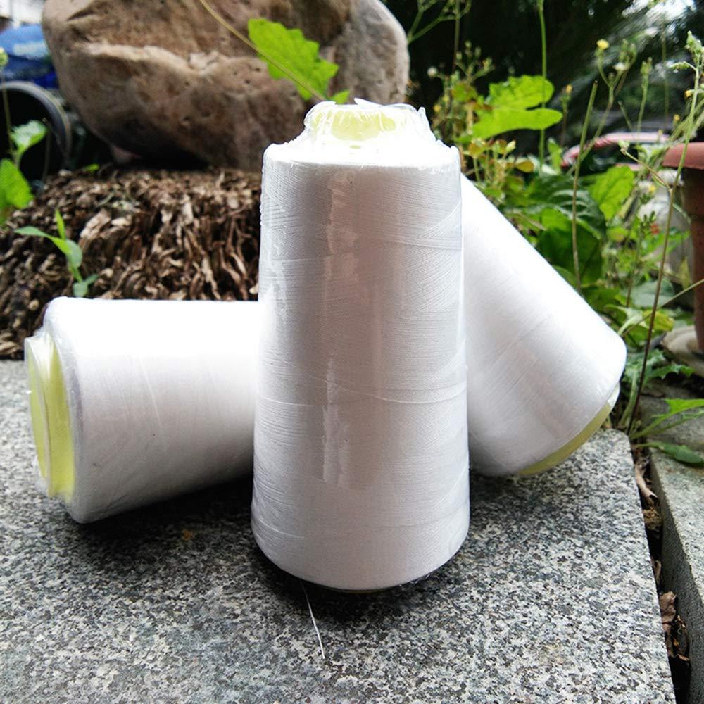 Blanco, 3000 Yardas Ogquaton 1 Rollo de Hilo de Coser de algod/ón para m/áquina de Coser sin blanquear