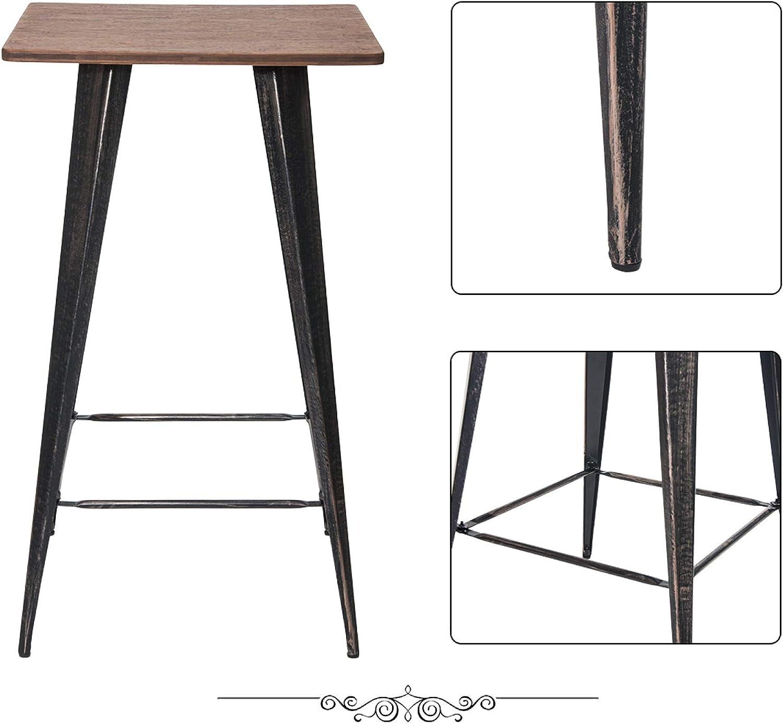 Antique Black 41Inch High Vintage Bistro Table Rectangular Distressed Metal Bar Table